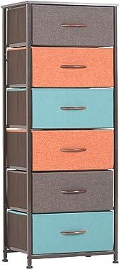 WAYTRIM Vertical Dresser Storage Tower with 6 Drawers, Fabric Organizer Dresser Tower for Bedroom, Hallway, Entryway, Closets