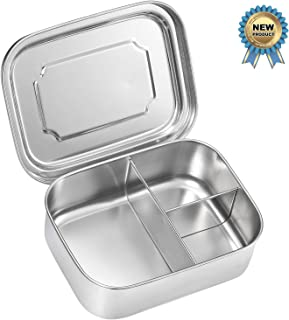 Stainless Steel Lunch Box - Sprite Beat Metal Bento Box Travel Food Container Lunch Boxes ECO-Safe & Healthy | Perfect Lunch Box for both Kids + Adults (Divided Bento Box)
