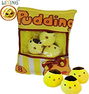 liking Pudding Pillow Stuffed 3pcs Chickens Japanese Snack Pillow Ins Popular Pudding Pillow Bag for Mobile Wallet (Pudding Pillow Chicken)