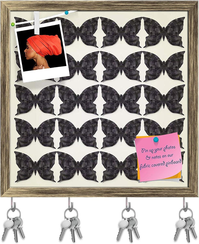 Artzfolio Graphic Stylized Black Butterflies Key Holder Hooks   Notice Pin Board   Antique golden Frame 16.1 X 16Inch