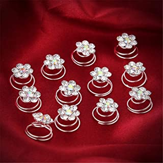 LUKEEXIN 12pcs Diamond-Encrusted Bride Spiral Clip Hairpin Hairpin Wedding Bridal Jewelry Tiara Batch (Color : White)