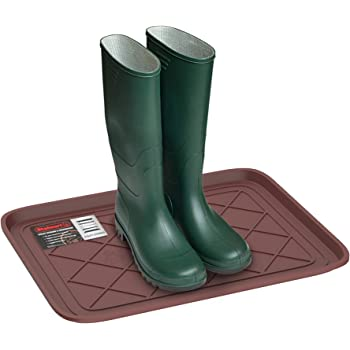 Stalwart 75-ST6107 Weather Boot Tray-Small Water Resistant Plastic Utility Shoe Mat for Indoor and Outdoor Use in All Seasons (Brown), One Size