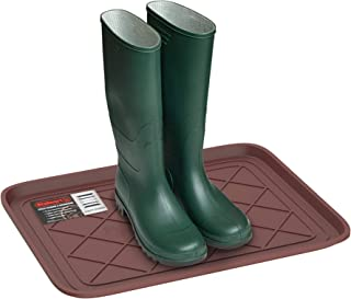 Stalwart 75-ST6107 Weather Boot Tray-Small Water Resistant Plastic Utility Shoe Mat for Indoor and Outdoor Use in All Seasons (Brown)