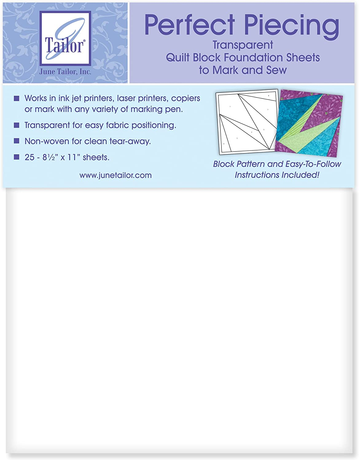 June Tailor Perfect Piecing Quilt Foundation Sheets Block 5% OFF White Washington Mall
