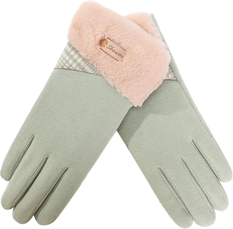 Women Winter Warm Gloves, Touch Screen Warm Plush Cuff Gloves, Plush Lining Cartoon Outdoor Hiking Windproof Warm Mittens