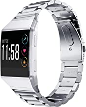 Fitbit Ionic Band, Shangpule Stainless Steel Metal Replacement Bracelet Strap with Folding Clasp for Fitbit Ionic Smart Watch(Silver)