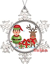 Elf Reindeer with Gift Box Christmas Metal Snowflake Christmas Ornaments for Tree The Home Bedroom Decor for Kids Xmas Kee...
