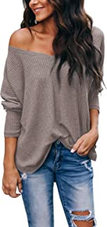 Albe Rita Women's Casual V-Neck Off-Shoulder Batwing Sleeve Pullover Sweater Tops