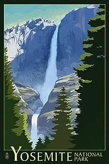 Yosemite National Park, California - Yosemite Falls - Lithography (9x12 Art Print, Wall Decor Travel Poster)
