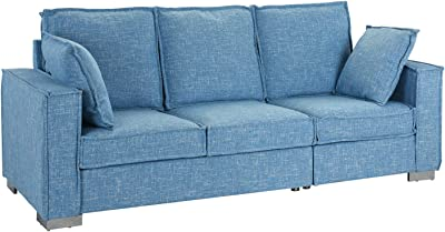 Amazon.com: Classic Scroll Arm Velvet Living Room Sofa with ...