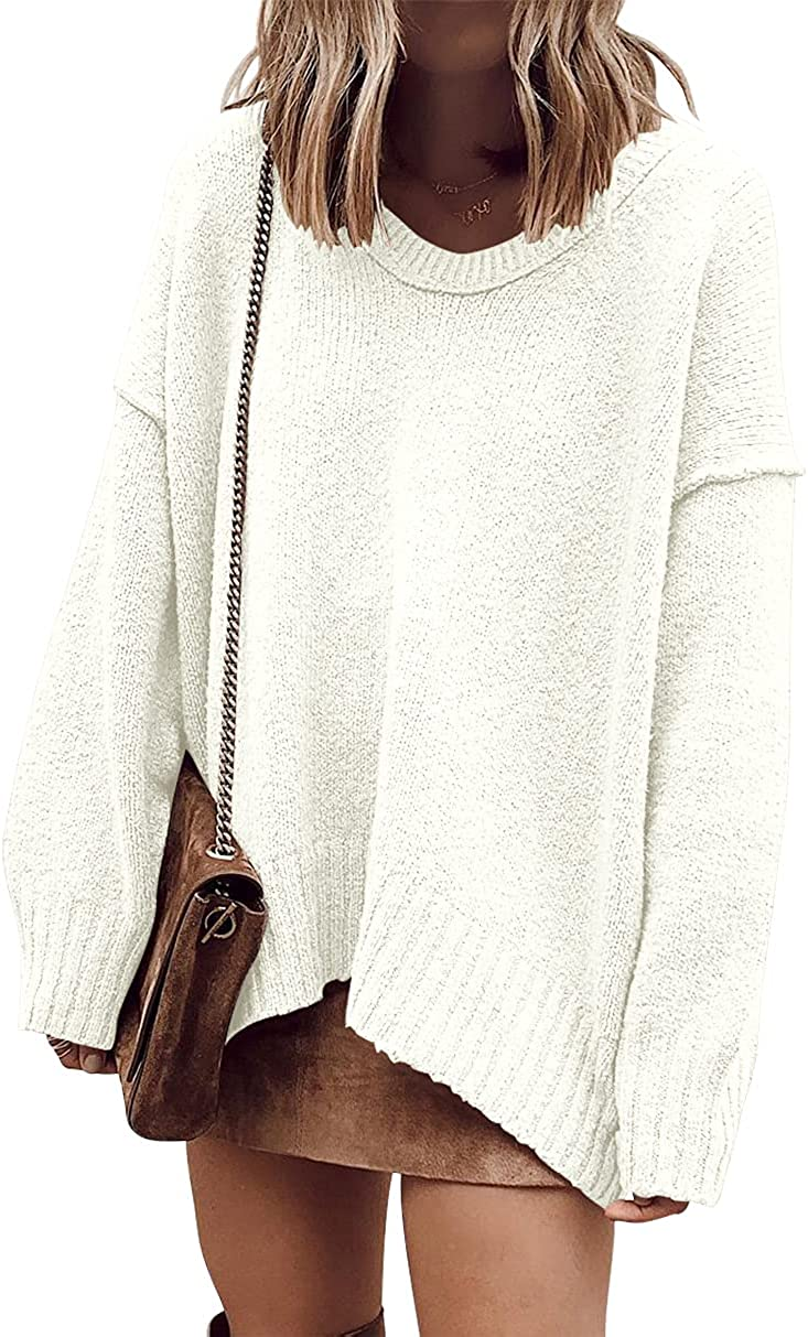 ANRABESS Women's Casual Long Sleeve V Neck Off Shoulder Loose Baggy Comfy Knit Pullover Sweaters Tunic