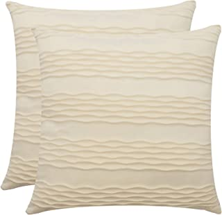 Dulce Dom Throw Pillow Covers for Accent Pillows – Decorative Pillow Covers Made with Lustrous Velvet with Chic Wave Pattern for Square Inserts, Covers only (Pack of 2, 18x18)