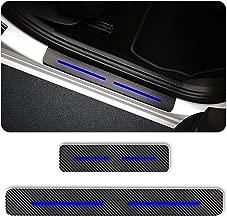 For DODGE Caliber Charger Dart Door Sill Protector Reflective 4D Carbon Fiber Sticker Door Entry Guard Door Sill Scuff Plate Stickers Auto Accessories 4Pcs Blue