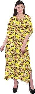 RADANYA Women Cotton Floral Kaftan Loose Spring Summer Dress V Neck Cover Up Clothing