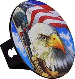 Built USA American Flag Bald Eagle | Hitch Cover Plug Stainless Steel | Emblem On Metal Trailer Round Chrome-Plated | fits 2 Receiver Rustic Jeep car Truck