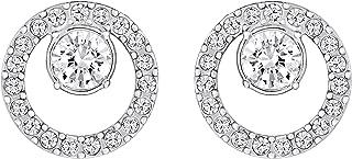 SWAROVSKI Women's Creativity Circle Pierced Earrings, White, Rhodium plated