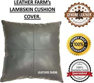 LEATHER FARM Thick Genuine Leather Pillow Cover Grey Decorative for Couch Throw Pillow Case Grey Leather Cushion Cover Solid Colour (20''x20''(2))