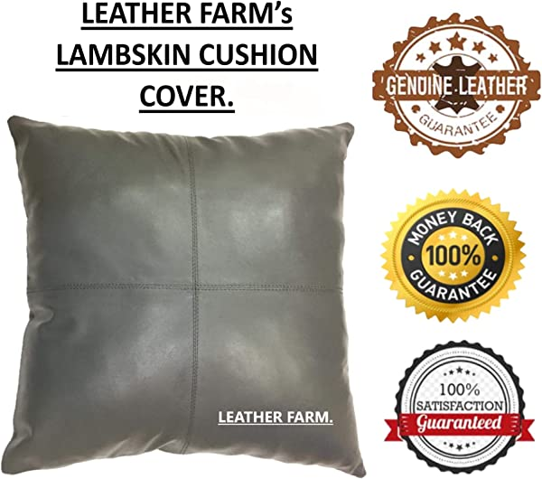 LEATHER FARM S Thick Genuine Leather Pillow Cover GREY Decorative For Couch Throw Pillow Case GREY Leather Cushion Cover Solid Colour 18 X18