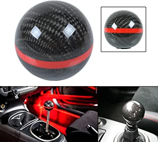 Cuztom Tuning JDM Round Ball Shape Style Carbon Fiber Auto & Manual Shift Shifter Gear Knob Selector with Color Strip (RED)