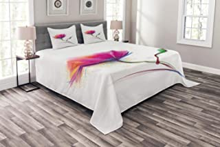 Ambesonne Flower Bedspread, Simplistic Poppy Design Purity and Grace Love and Friendship Splattered Image, Decorative Quilted 3 Piece Coverlet Set with 2 Pillow Shams, King Size, Fuchsia