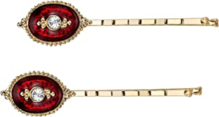 Downton Abbey Gold-Tone Crystal and Red Enamel Bobby Pins Set
