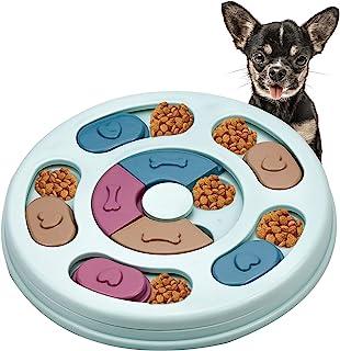 Aprilye Interactive Dog Puzzle Feeder Toy, Dog Puzzle Slow Feeder Toy, Round Bowl Dog Toy for Dog IQ Educational Toys - Blue