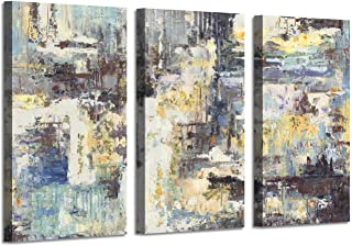 Abstract Canvas Pictures Wall Art: Gold Foil Painting Artwork on Canvas for Living Room (34'' x 20'' x 3 Panels)