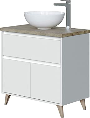 ARKITMOBEL ONA Mueble de Baño con 2 Puertas y 1 Cajon, Blanco Brillo y Roble Alaska, Grande