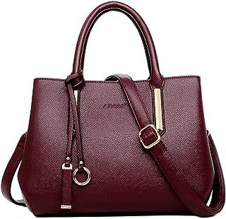 Fine Bag/Fashion Commuter Handbag Waterproof Shoulder Messenger Bag Leather Large Capacity Mother Bag Wallet Multi-Pocket Capacity (Color : Fuchsia, Size : One Size)