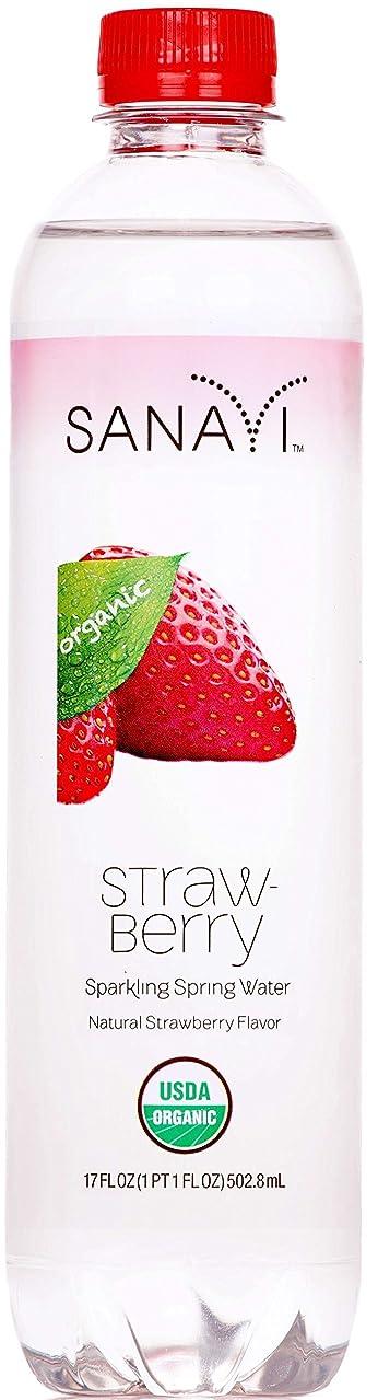 Sanavi Organic Sparkling Spring Water Bottles, Strawberry, 17 fl. oz., 12 Count