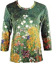 Breeke & Company Gustav Klimt - Flower Garden Cotton Micro Blend Top
