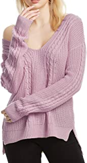Ayans Women Casual V Neck Long Sleeve Loose Fit Knit Sweater Pullover Top