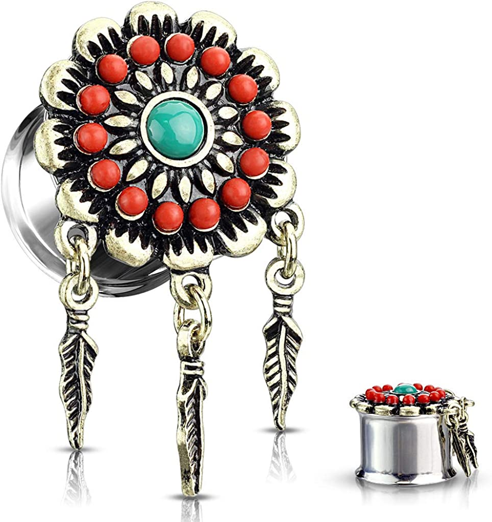 Max 70% OFF Dynamique Long-awaited Pair of Tribal Flower Feather Center with Turquoise