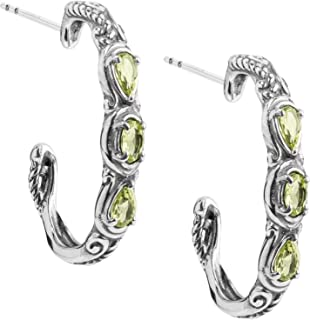 Carolyn Pollack Sterling Silver Multi Gemstone Choice of 8 Different Colors 3 Stone Hoop Earrings