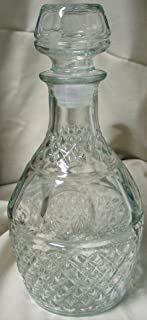 2 Each: Princess House Wine / Whiskey Decanter Clear Crown & Grapes Criss Cross Design (Hostess Only Item)