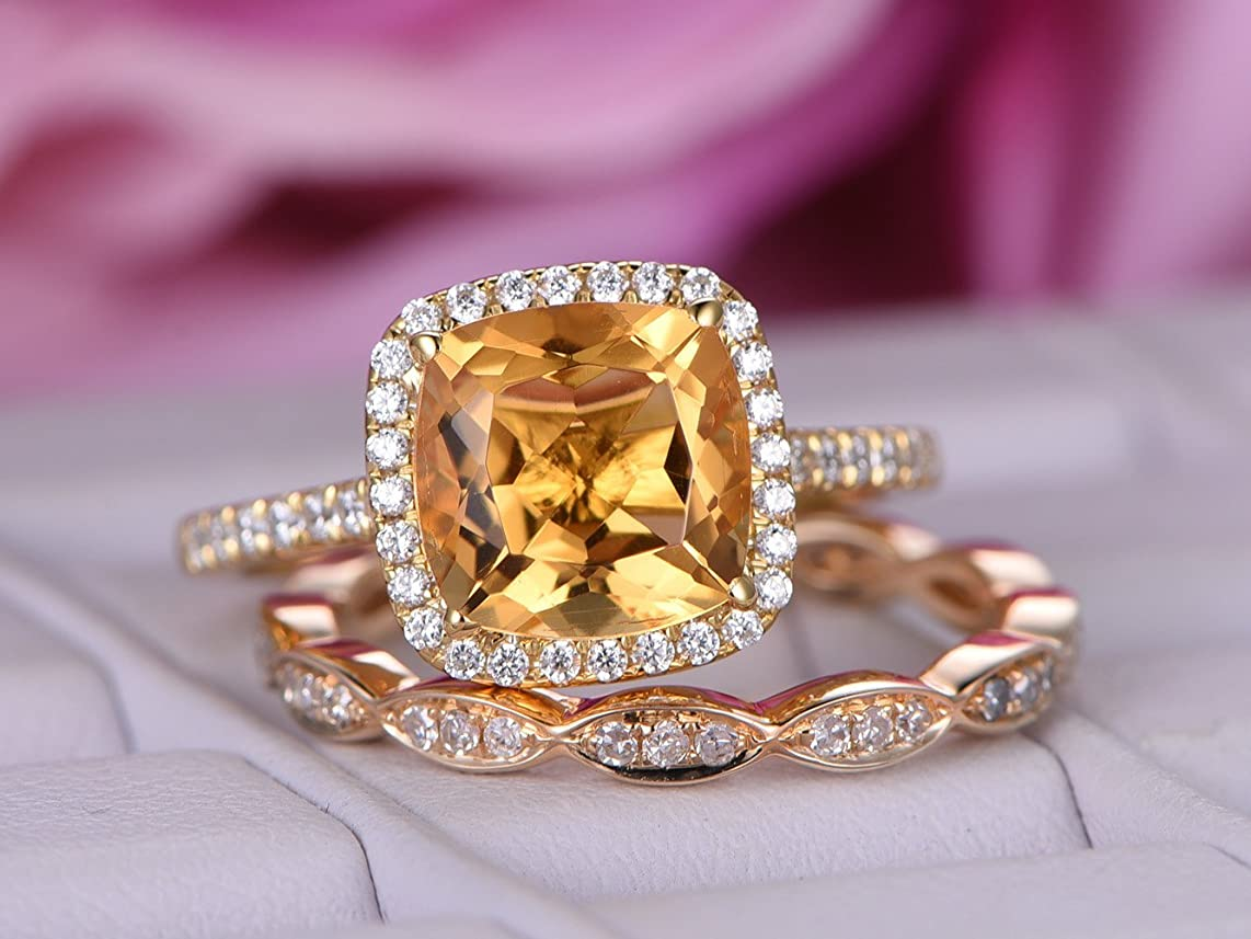 Cushion Citrine Engagement Ring Sets Pave Diamond Wedding 14K Yellow Gold 8mm