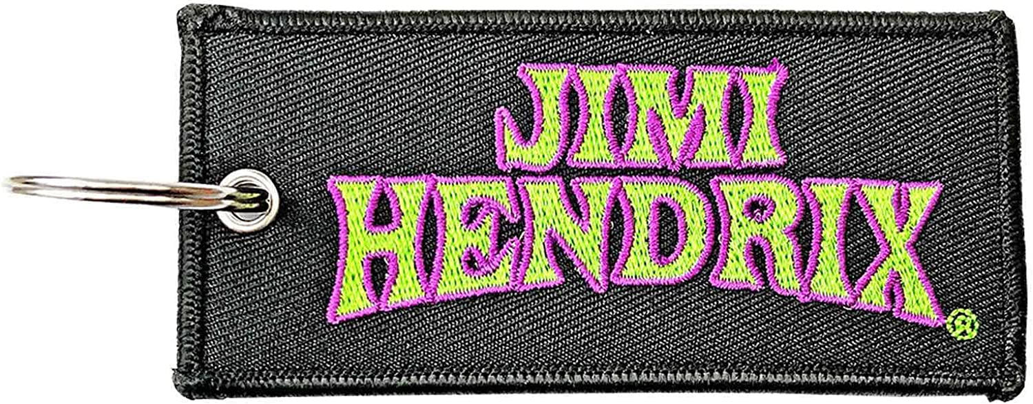 Jimi Hendrix Keyring Keychain Arched Logo Patch Official Black