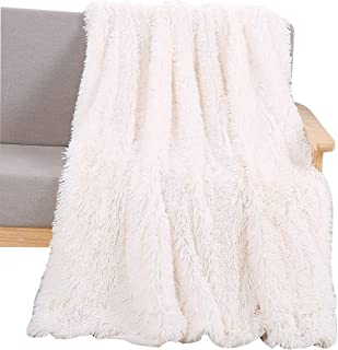 YOUSA Super Soft Shaggy Faux Fur Blanket Ultra Plush Decorative Throw Blanket 51''x63'', White