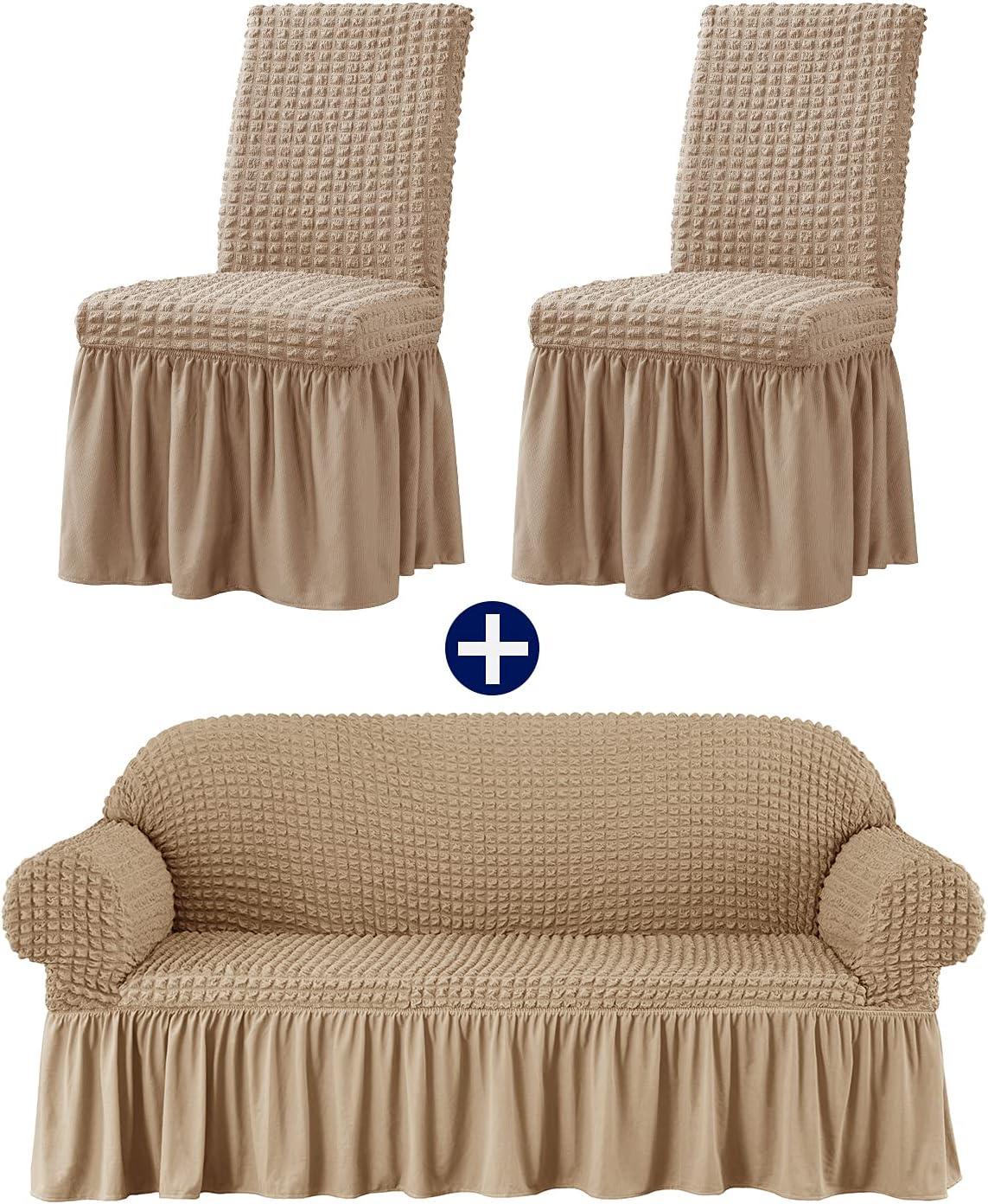 subrtex Ranking TOP3 List price Oatmeal Dining Chair Slipcover Bundles Seersucke