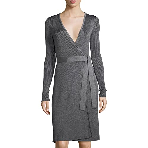 fd66f0d115be6 Diane von Furstenberg Linda Merino Wool Blend Wrap Dress In Grey