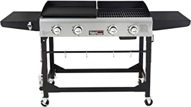Royal Gourmet GD401 Portable Propane Gas Grill and Griddle Combo with Side Table | 4-Burner, Folding Legs,Versatile, Outdo...