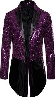 Charmlinda Mens Sequin Tailcoat Swallowtail Shiny Sequins Blazer Suit Jacket Party Wedding Blazer Slim Fit Show Tux Dress ...