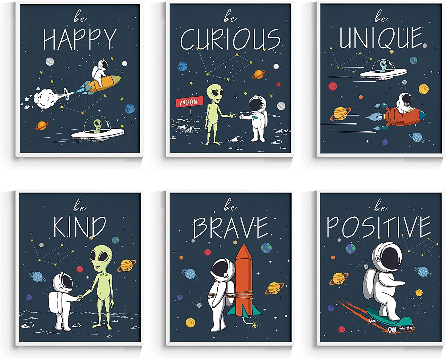 InSimSea Inspirational Outer Space Poster, Kids Room Decor, Motivational Wall Art for Boys Bedroom, Set of 6, 8x10 inches, Unframed