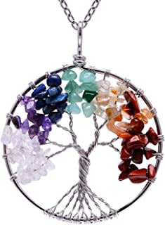 Tree of Life Pendant Amethyst Rose Crystal Necklace Gemstone Chakra Jewelry
