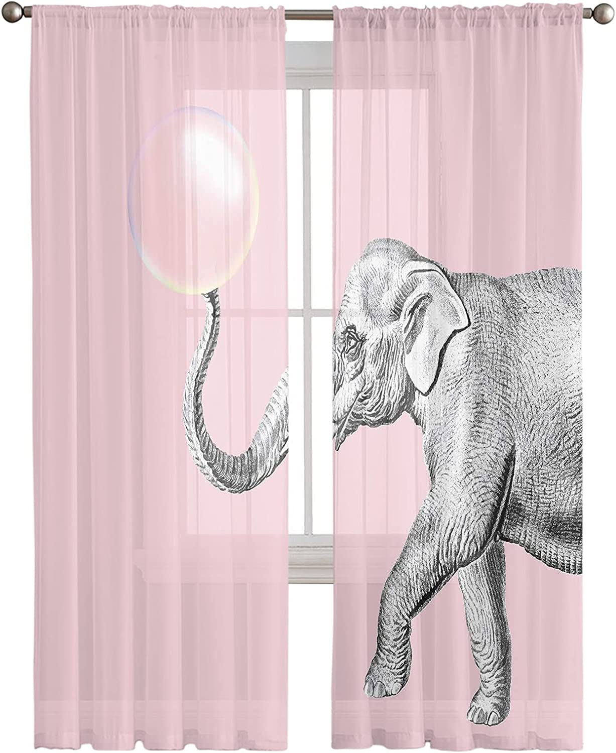 Sheer Voile Limited price sale Curtains Draperies-Wild Animals Elephant Special price for a limited time Bubble Pink