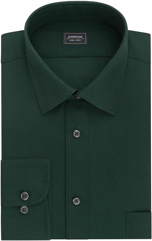 Arrow Men's Regular-Fit Wrinkle-Resistant Poplin Dress Shirt (Neck 18-18 1/2 Sleeve 34/35, Herb)