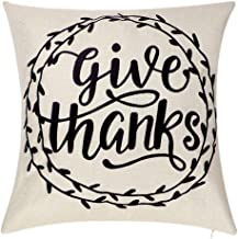 Onshine Give Thanks Thanksgiving Day Home Decor Fall Throw Pillow Cushion 17.7 x 17.7 Inch Cotton Linen Pillow Cover