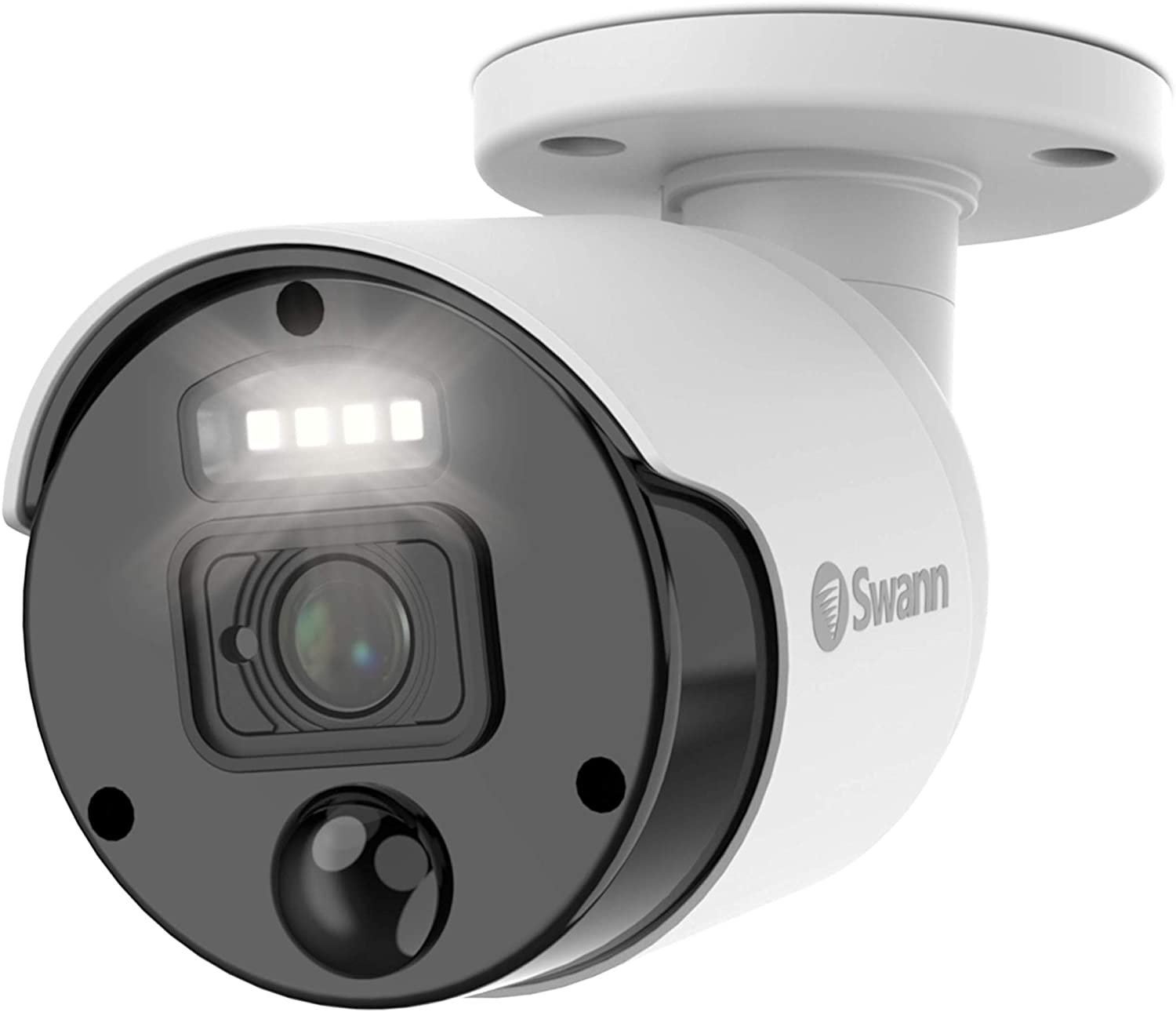 Swann PIR Bullet Security Camera & Spotlight, 4K Upscale Surveillance Cam w/Color Night Vision, Indoor/Outdoor, Heat & Motion Sensing, 1-Way Audio, Add to NVR, SWNHD-875WLB
