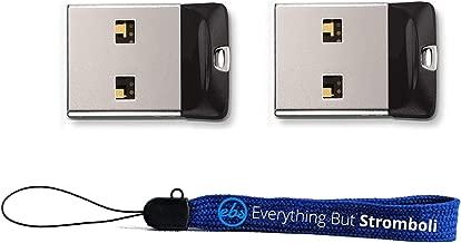 SanDisk Cruzer Fit 16 GB X2 = 32GB USB Flash Drive SDCZ33-016G-B35-2PK W/Everything But Stromboli (Tm) Lanyard