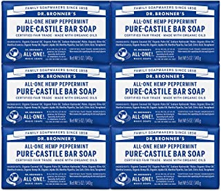 Dr. Bronner's - Pure-Castile Bar Soap (Peppermint, 5 ounce, 6-Pack) - Made with Organic Oils, For Face, Body and Hair, Gentle and Moisturizing, Biodegradable, Vegan, Cruelty-free, Non-GMO